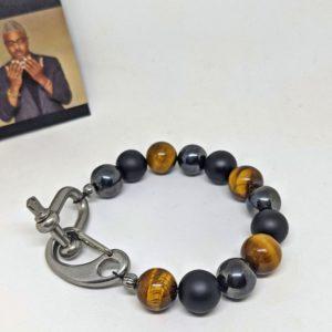 tiger's eye, onyx and hematite bracelet